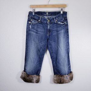 7 For All Mankind Faux Fur Crop Bootcut Jeans